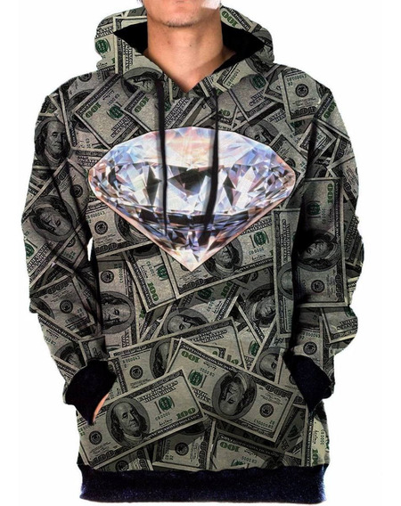 Blusa Moletom Bolso Lateral Money Diamante Tumblr Swag Dolar
