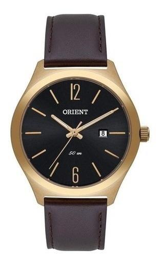 Relógio Masculino Dourado Orient Pulseira Couro Marrom Data