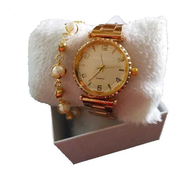 Kit 10 Relógios+pulseira Folheada Caixinha Atacado C/escolha