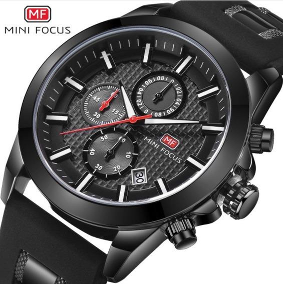 Relógio Masculino Aço Inox Borracha Preto Social Mini Focus
