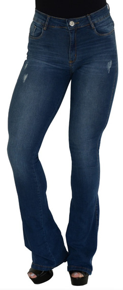 Calça Jeans Flare Básica Boca De Sino Lycra Cós Alto Brinde