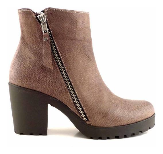 Bota Botineta Mujer Briganti Zapato Cuero Goma - Mcbo24805