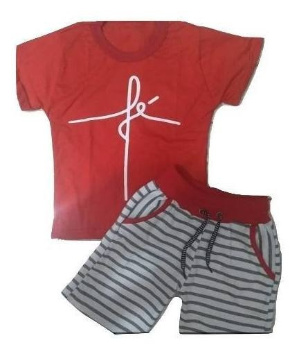 10 Conjuntos Infantis Menino Short Bermuda Blusa 1 A 10 Anos