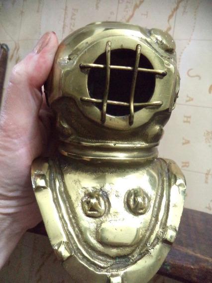 Escafandro De Bronze Antigo 14x09 Cm 1 Kilo Decoração