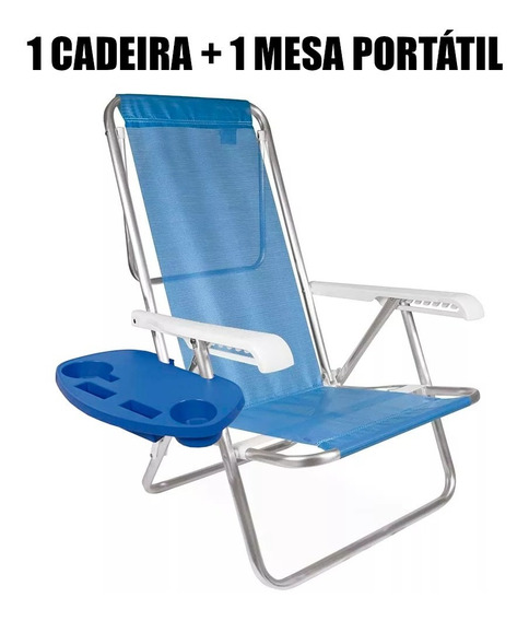 Kit Cadeira Praia 8 Pos. Aluminio + Mesa P/ Cadeira Mor