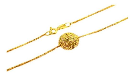 Corrente Feminina Ouro 18k Pingente Bola Com 41 Brilhantes 42cm + Porta Joias 1811