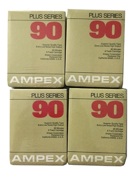 04 Fitas Cartucho Tape Deck 8 Track Ampex 90 Min Lacrada