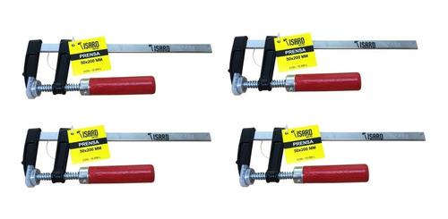 Imagen 1 de 5 de X4 Prensa Sargento Carpintero 50x200 Isard Con Protectores