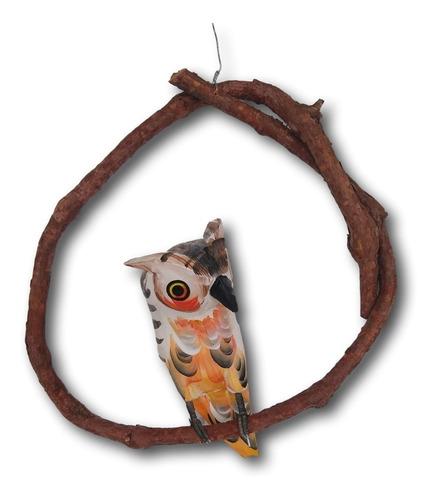 Pássaro Coruja De Madeira Enfeite Decoração Ref.0697