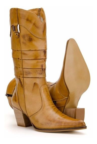 Bota Feminina Country Texana Cano Alto Couro / Capelli Boots
