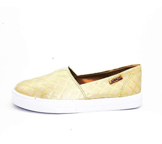 Tênis Slip On Quality Shoes Feminino 002 Matelassê Dourado