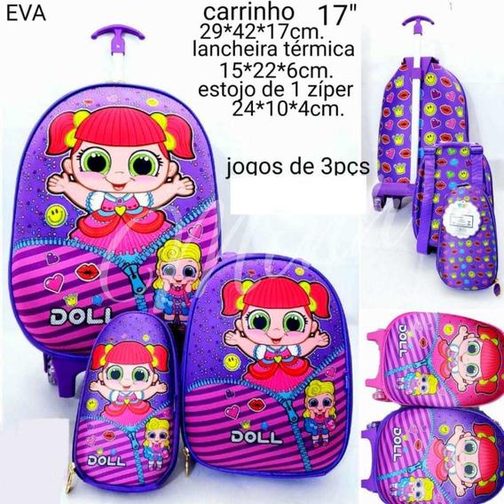 Kit Mochila Escolar Infantil Rodinha Doll 3itens