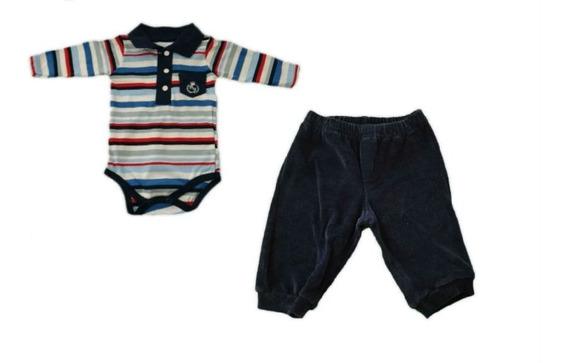 Conjunto Body Polo E Calça Plush Listrado - Baby Fashion
