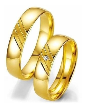 Par De Aliança Em Ouro 18k Com 4mm 5grs Boleada 1 Diamante