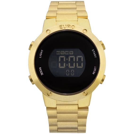 Relógio Feminino Dourado Digital Euro Original Eubj3279aa/4d