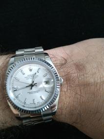 Relógio Rolex Fundo Cinza Automático Vidro Safira Aço Inox