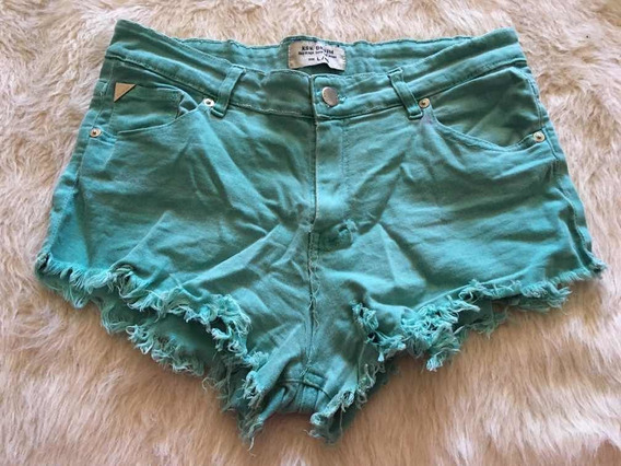 Short De Jean Kosiuko Denim Mujer Teen Verde Agua Color