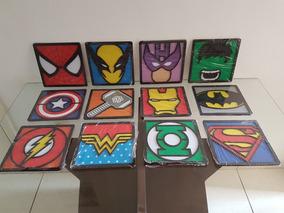 8 Quadros 3d Em Alto Relevo De Super Heróis