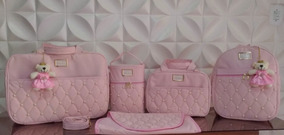 Kit Bolsas Maternidade Bebê Menino Menina 5 Pcs Luxo