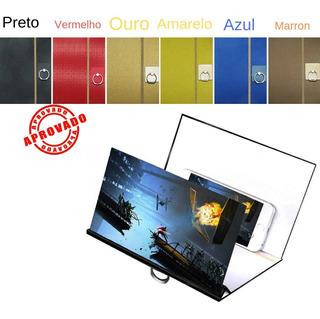 Tela Amplia Celulares Smartphone Projetor Madeira Imagem 3d