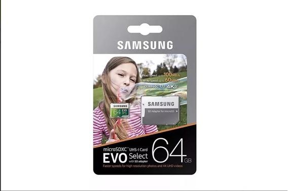 Cartão Micro Sd Samsung 64gb Evo Select Com Adaptador