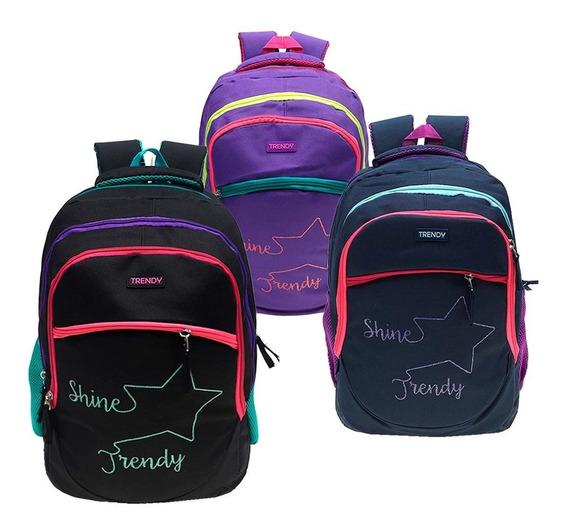 Mochila Trendy Shine Urbana Escolar Colores Divisiones