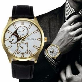 Relógio Masculino Geneva Pulseira De Couro Sintético