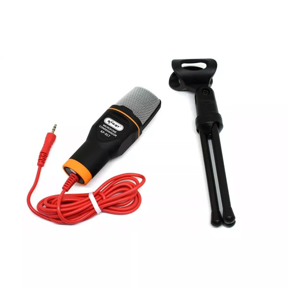 Microfone Condensador Para Pc Notebook C/tripé P2 Youtuber
