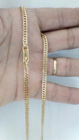 Cordao Lacraia 4mm Banhado Ouro18k 1 Ano Garantia+ Caixinha