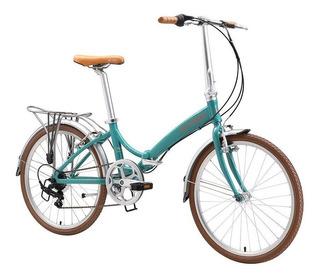 Bicicleta Dobrável Aro 24 Com 6 Velocidades Durban Turquesa