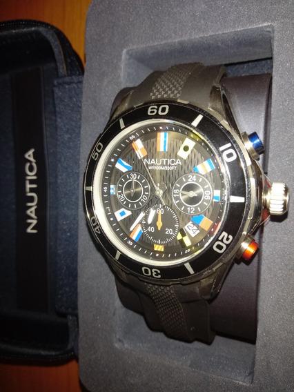 Relógio Nautica Multii-bandeiras Preto N16533g Novo