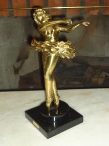 Antigua Escultura De Bailarina Em Bronze Maciço Antiga