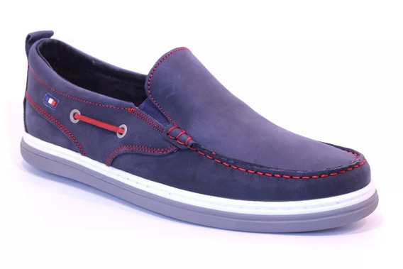 Zapato Náutico Cuero Elastizado Pataugas Bastian Azul