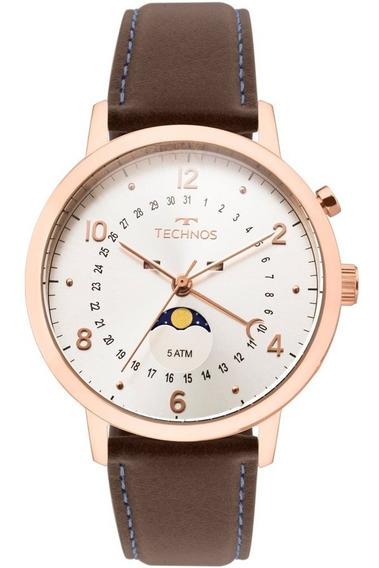 Relógio Technos Calendário Lunar Masculino Couro - 6p80ad/2b