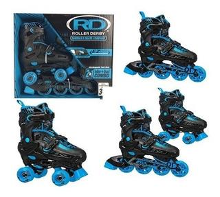 Patins Ajustavel 28 33 Unissex Roler Derby Quad Inline 2in1