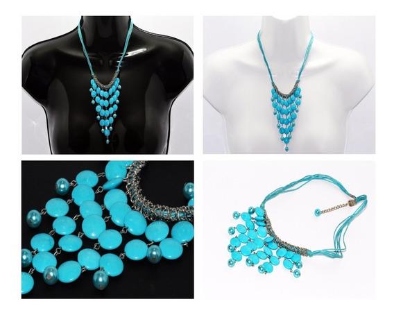 Collar Piedra Natural Dama Joyería Moda Mujer Coral Ccpn125