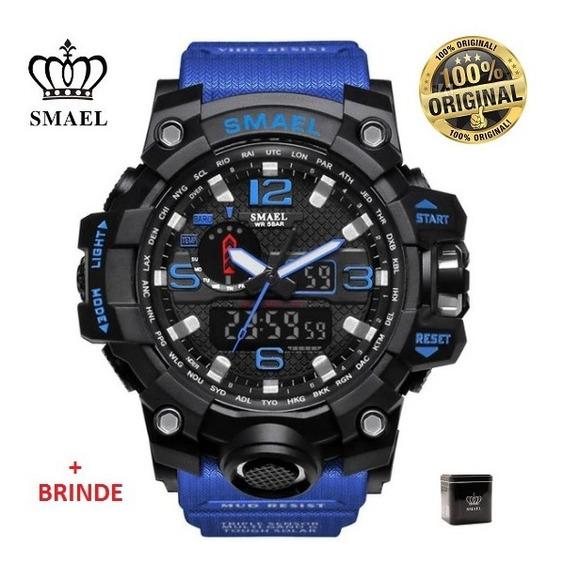 Relógio Esportivo G.chock Smael Mod 1545 Azul Militar Tático