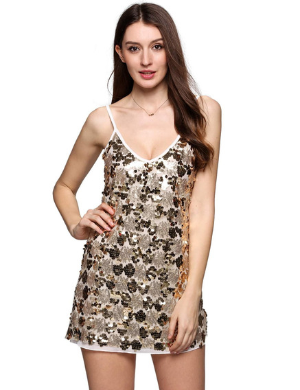 Spaghetti Strap Sin Mangas Sequined Bodycon Mini Vestido De