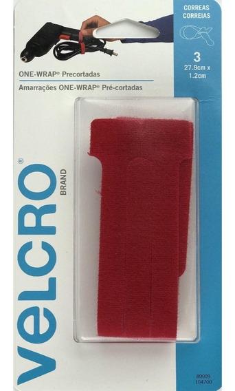 Velcro - Organizador De Cabos/fios - Vermelho - 3 Unidades