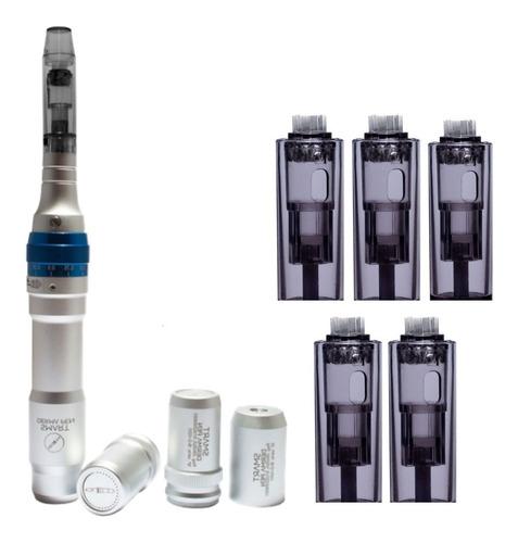 Imagem 1 de 9 de Derma Pen Smart Caneta Microagulhamento Com 5 Cartuchos