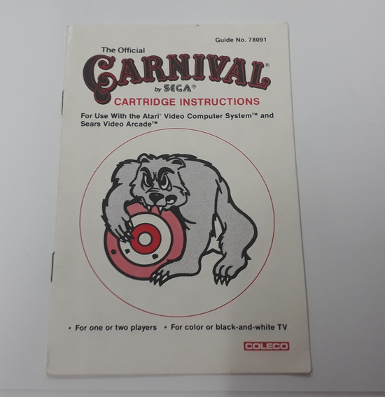 Manual Original Carnival Atari - Somos Loja Física!