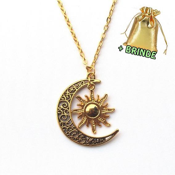 Colar Pingente Sol Lua Vintage Dourado Brinde