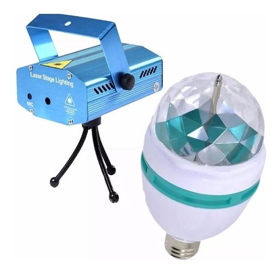 Kit Festa Iluminação 2 Projetor Laser 2 Bola Maluca Led Rgb