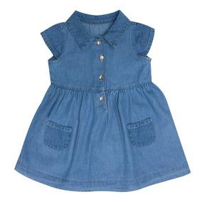 Vestido Bebé Niña Tipo Mezclilla Bolsas