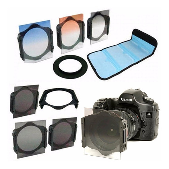55mm Kit 6 Filtros Tipo Cokin Nd2 4 8 + Cores + Suporte Case