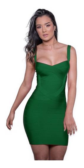 Vestidos Femininos Bandagem Verde Bandeira