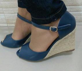 1072ea1e83 Sandalia Feminina Anabela Espadrille Azul