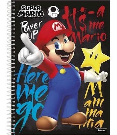 Caderno Com 10 Matérias Super Mario Capa Dura Postêr Foroni