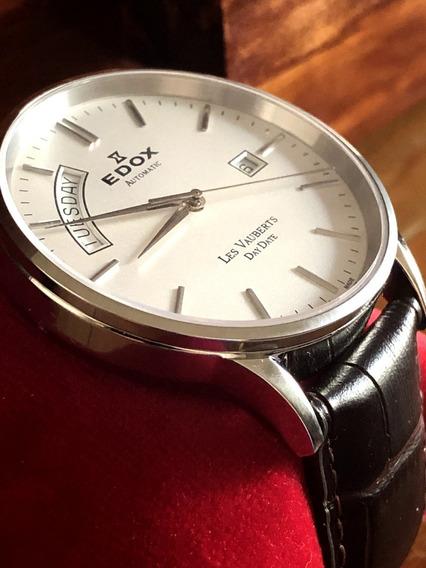 Reloj Edox Les Vauberts Day Date Automatic 83010-3b-ain A Meses S/intereses