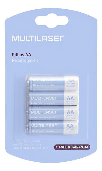 Pilha Recarregável Multilaser C/ 4 Aa Cb052 1,2v 2500 Mah